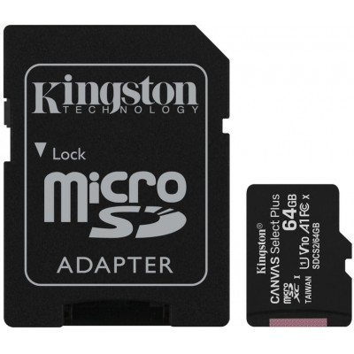 Карта памяти Kingston microSD Canvas Select Plus А1 Class10 UHS-I 64GB (100mb/s)