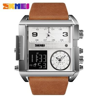 Skmei 1391 Sliver White Brown Wristband