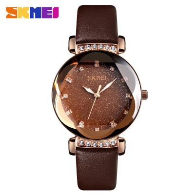 Skmei 9188 Brown-Gold Leather