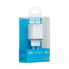 Сетевое зарядное устройство HOCO C42A VAST POWER QC3.0  White 1USB