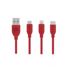 Кабель USB Lenyes LC768 3 in 1 (Lightning, Micro USB, Type-C) Red